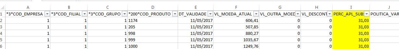 Exemplo de arquivo tabela de preços