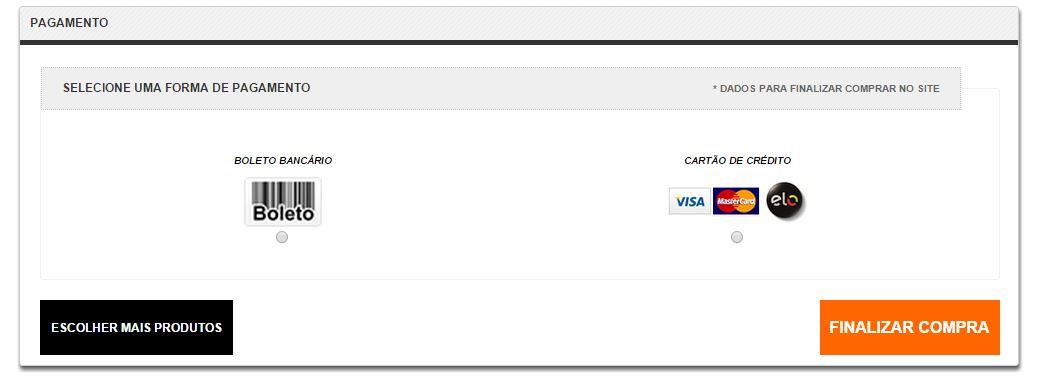 Tela de Seleção de forma de pagamento