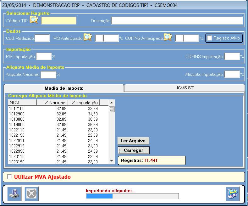 Carregando dados do arquivo media imposto lei transparencia