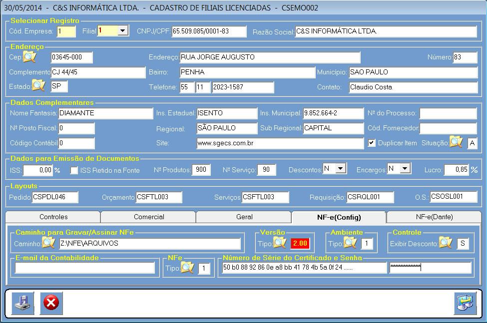 CSEMO001_CIS_ERP_NFe_Config